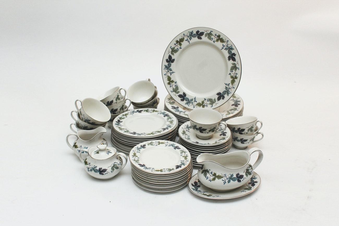 "Twelve Place Settings of Royal Doulton ""Burgundy"" Dinnerware"