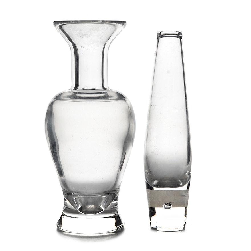 Pair Of Steuben Crystal Vases Ebth