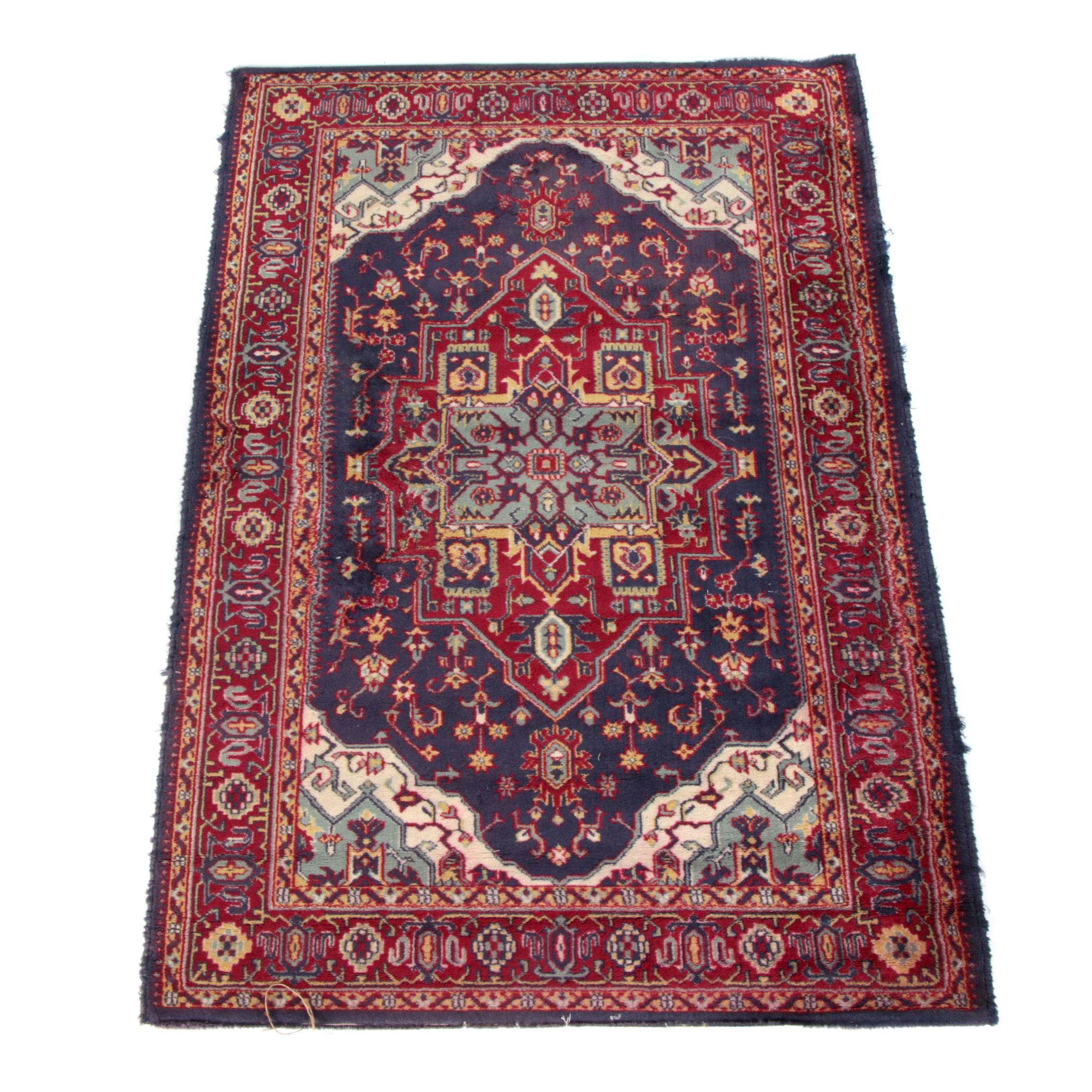 Vintage Power Loomed Persian Heriz Area Rug