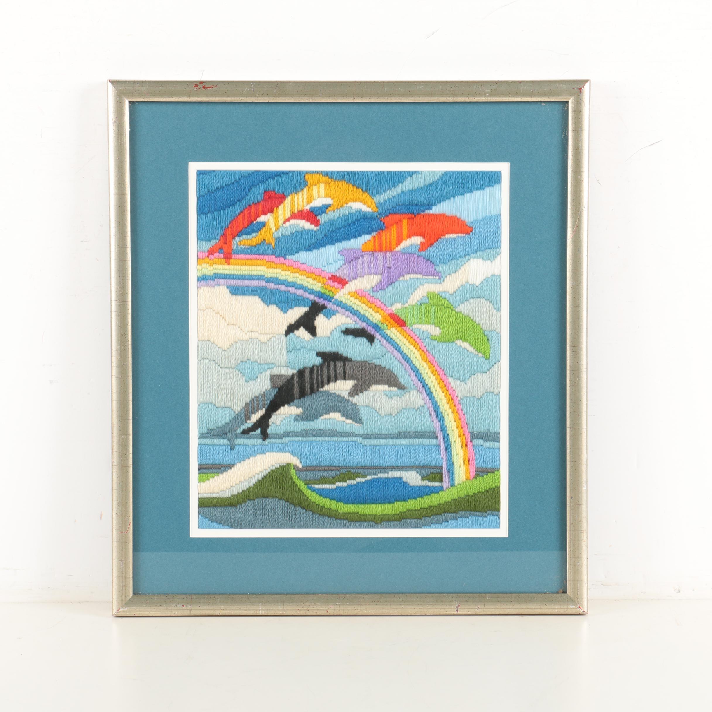 Framed Textile of Dolphins on a Rainbow
