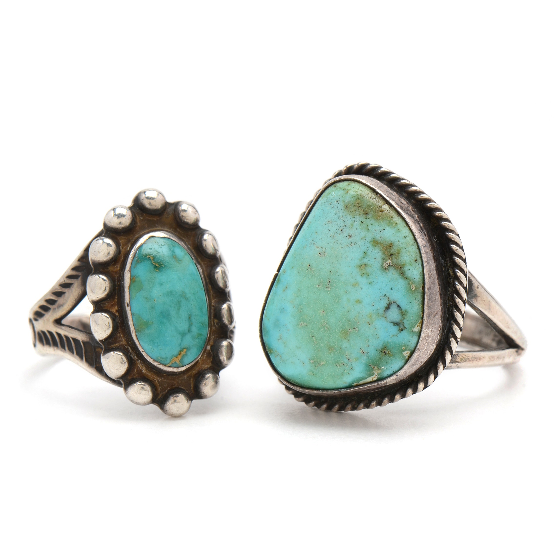 Two Native American Style Sterling and Turquoise Rings