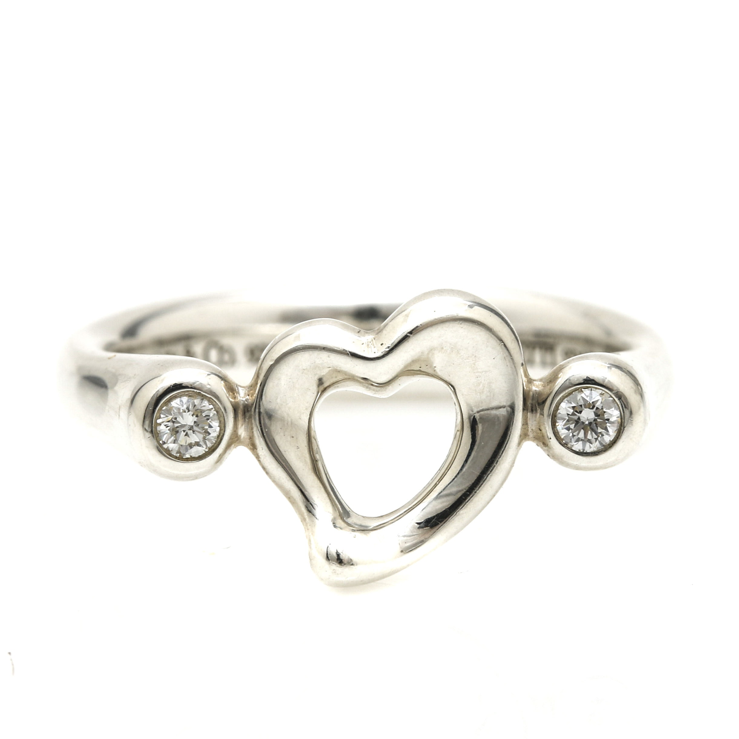 Tiffany & Co. Elsa Peretti Sterling Silver Open Heart Ring with Diamonds