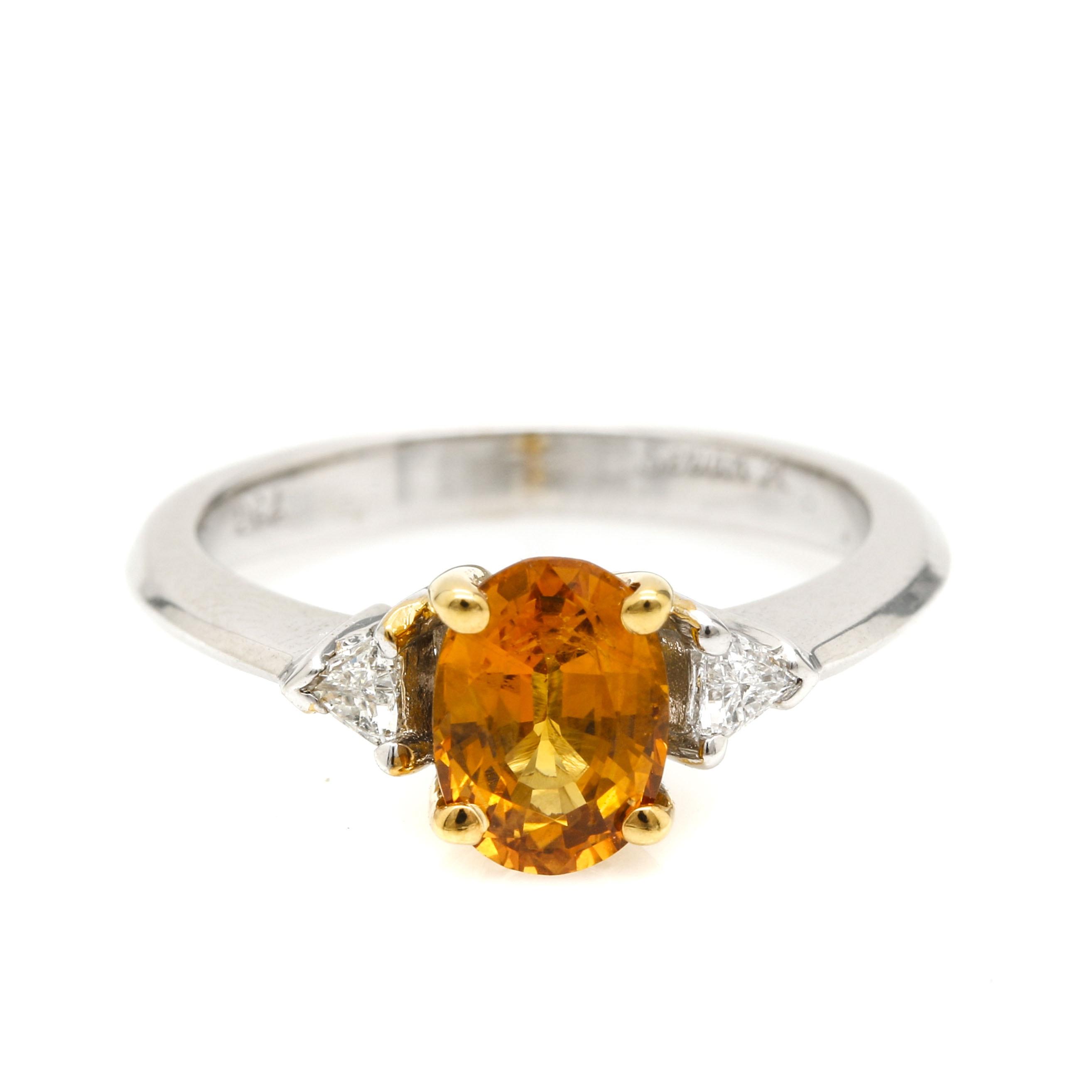 18K White Gold Yellow Sapphire and Diamond Ring EBTH