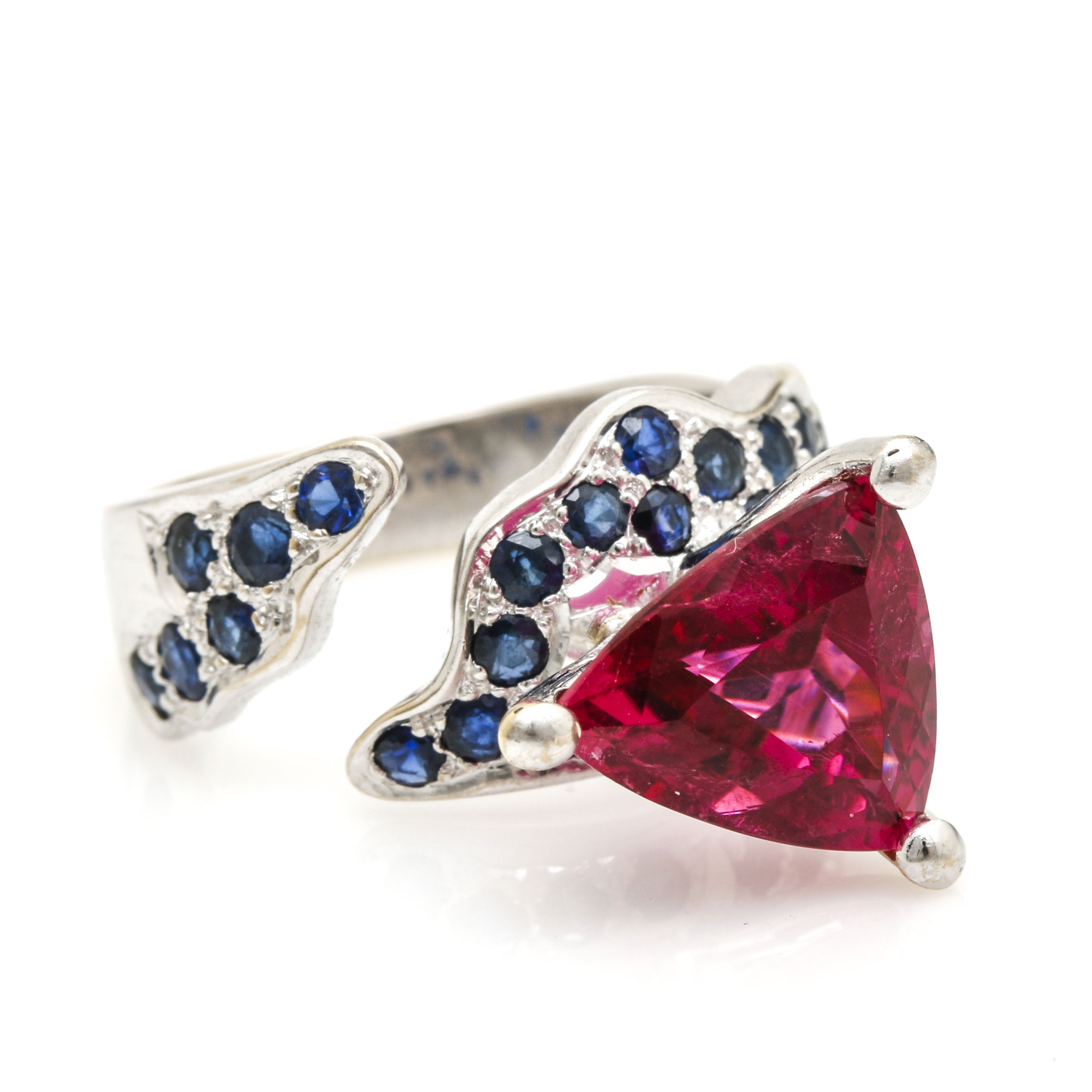 18K White Gold 3.81 CT Pink Tourmaline and Sapphire Contemporary Ring