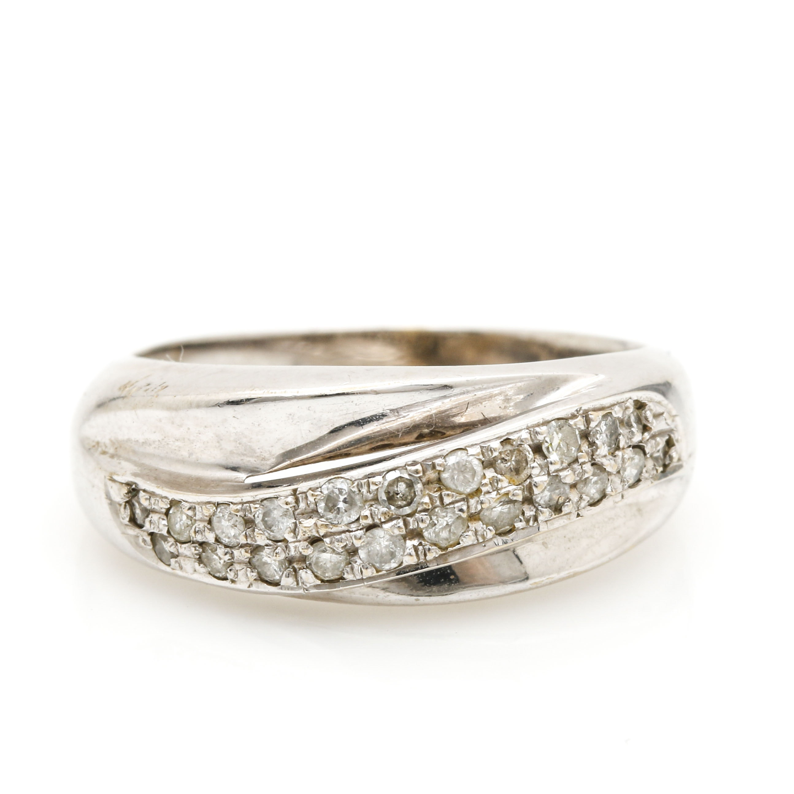 18K White Gold Diamond Accented Ring
