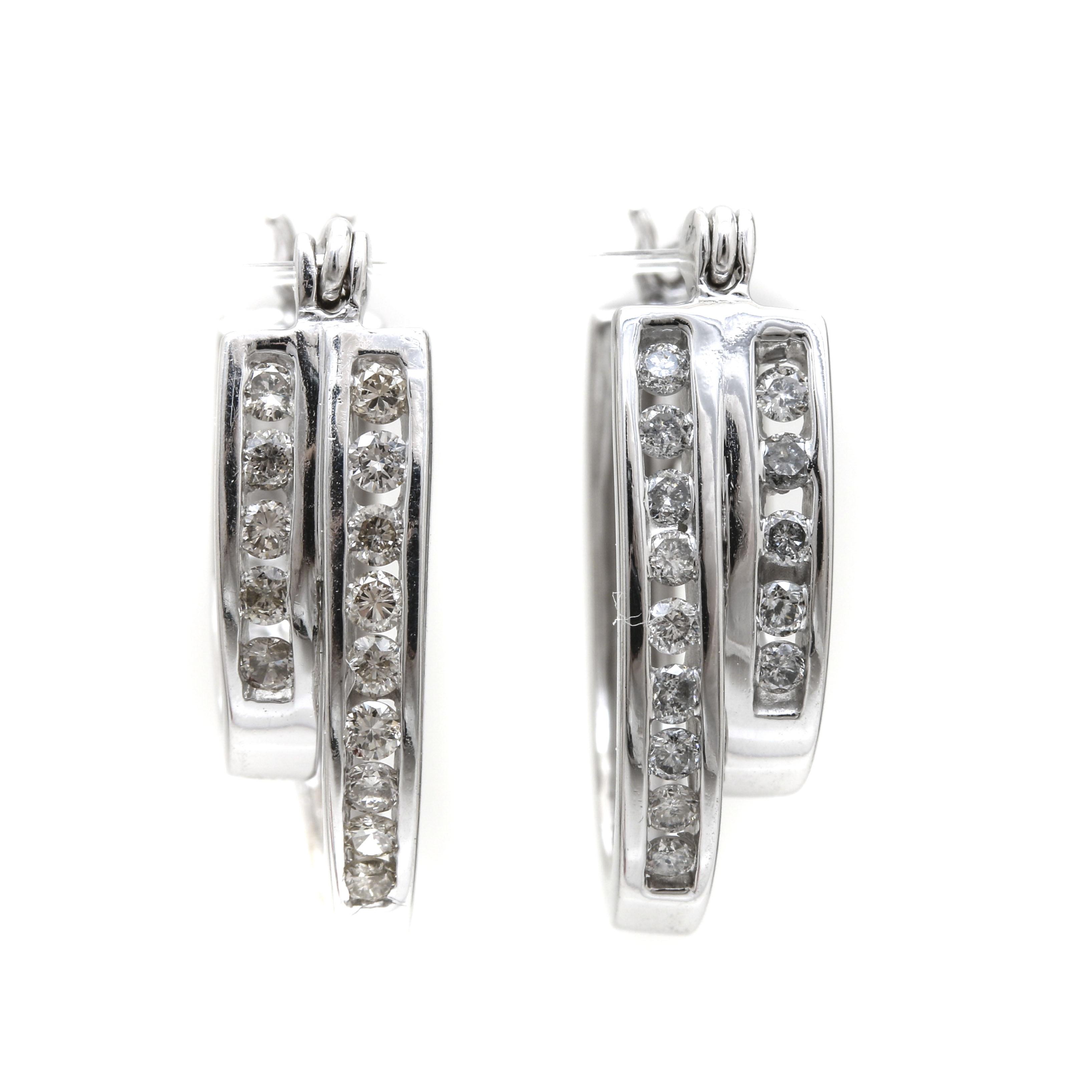 14K White Gold Diamond Double Hoop Earrings