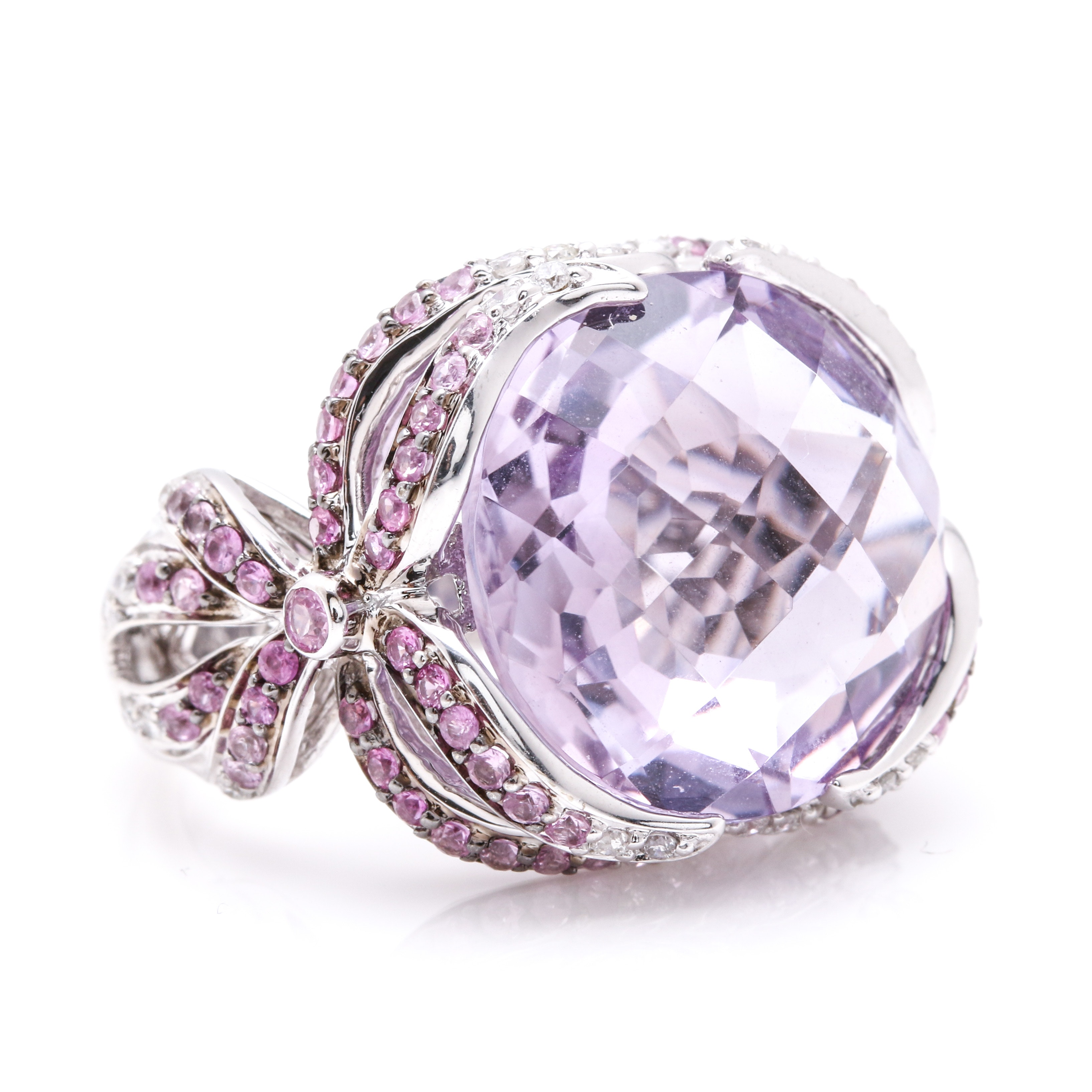18K White Gold Amethyst, Pink Sapphire, and Diamond Ring