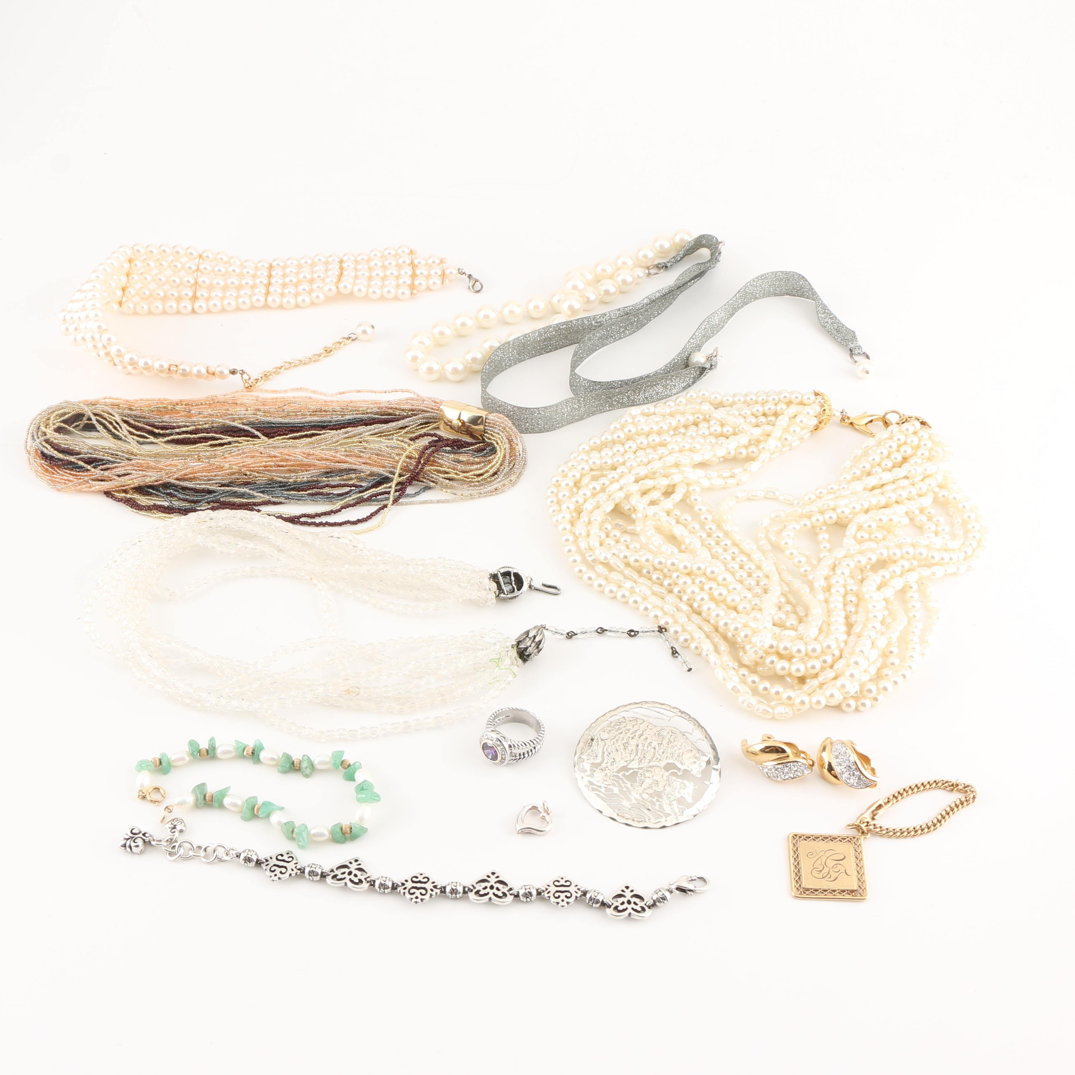 Assortment of Costume Jewelry Featuring a Brighton Bracelet
