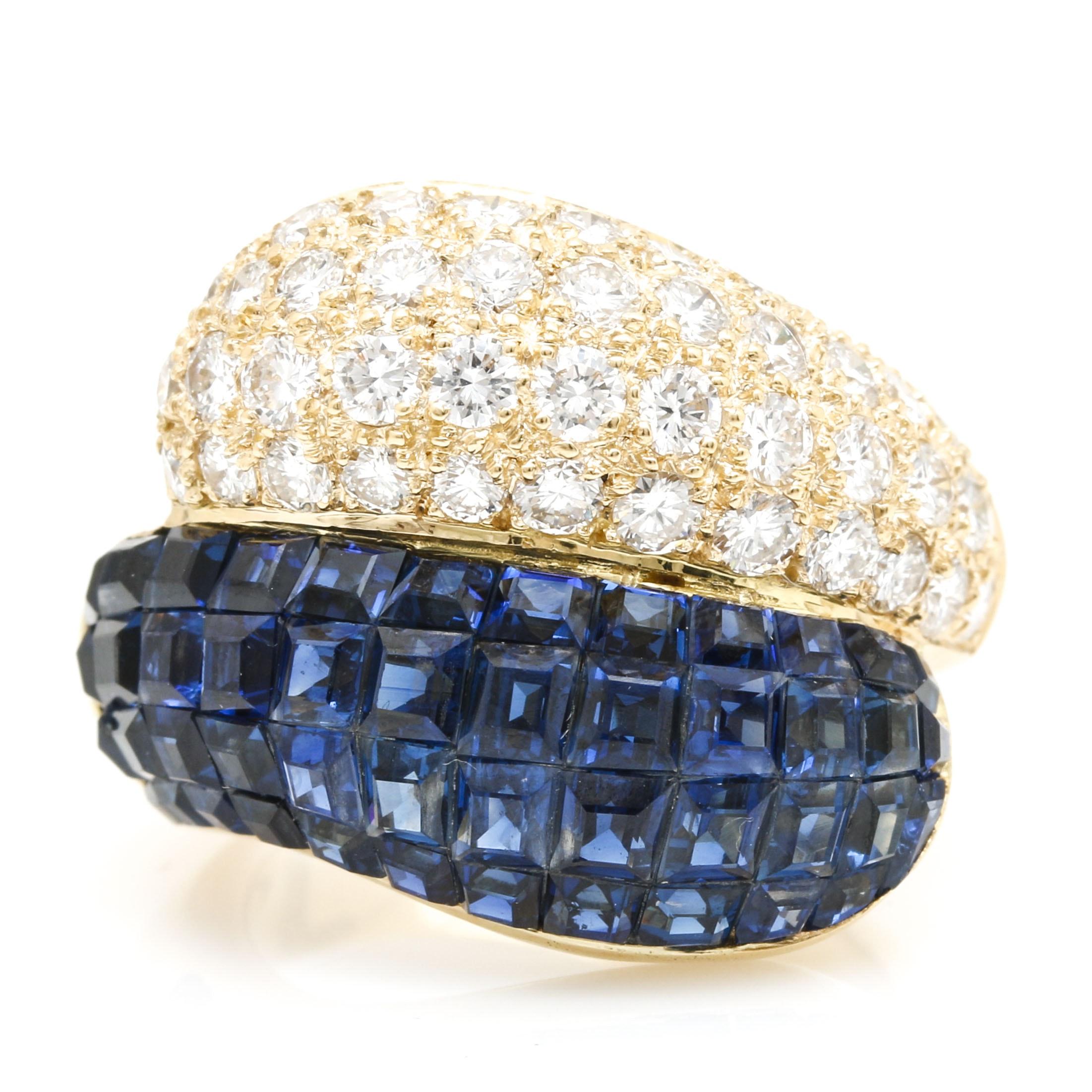 18K Yellow Gold 4.00 CTW Blue Sapphire and 2.02 CTW Diamond Ring