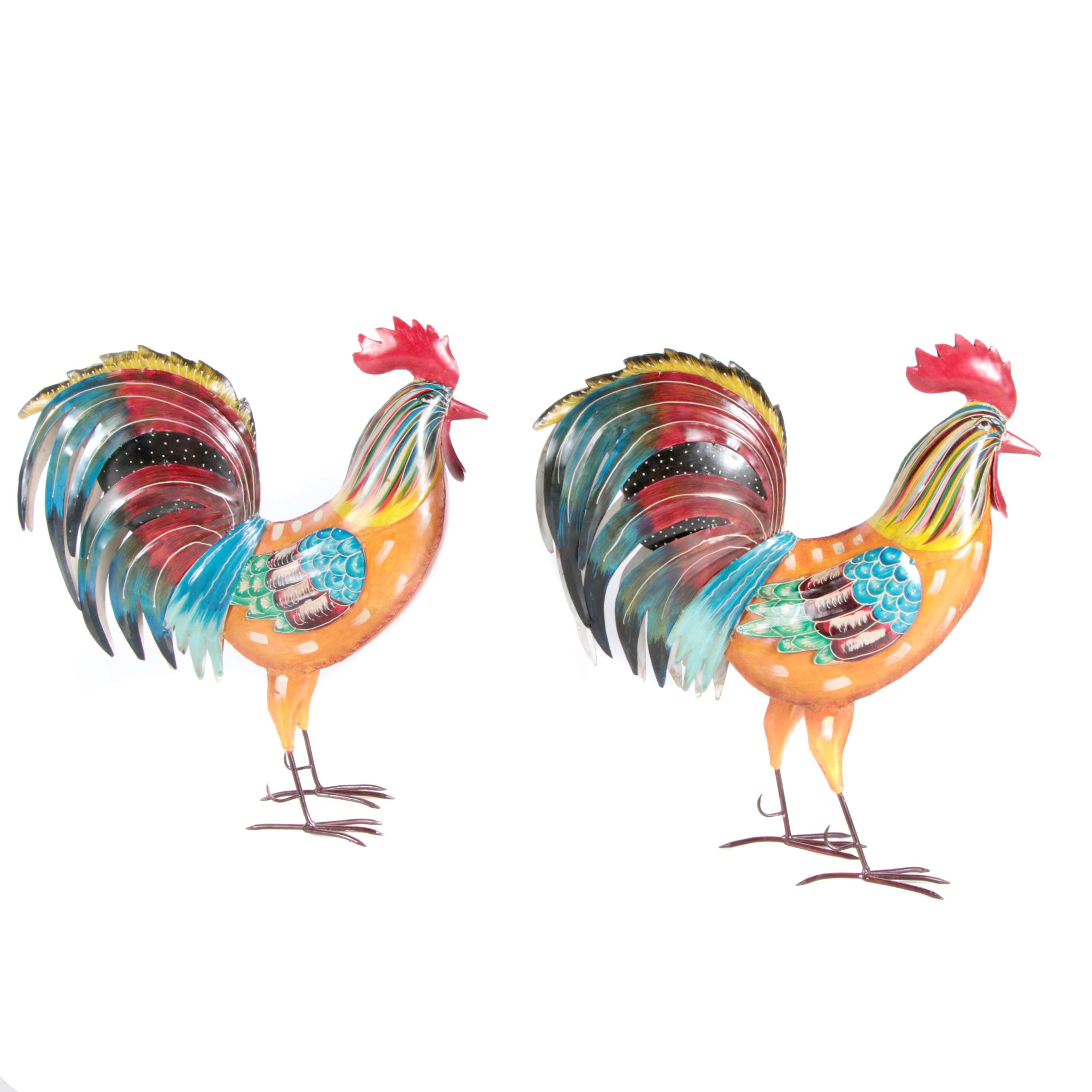 Iron Painted Rooster Sculptures