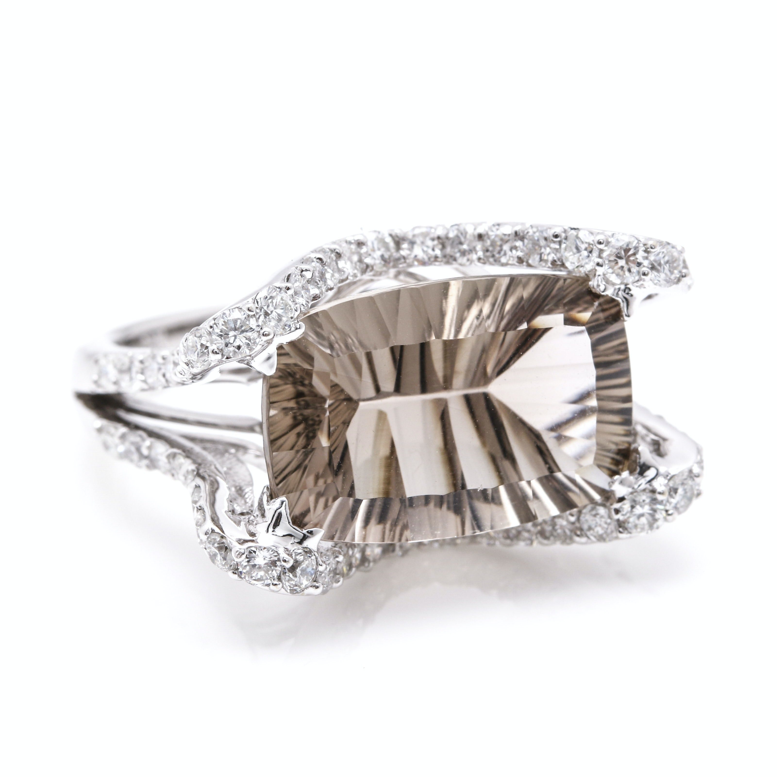 18K White Gold Smoky Quartz and 1.20 CTW Diamond Cocktail Ring