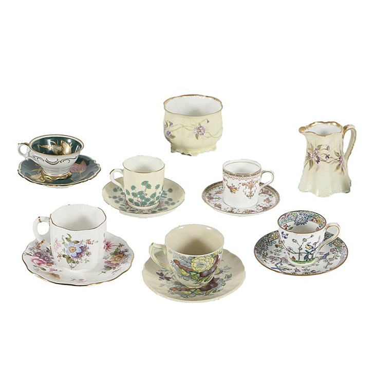 Assorted Demitasse Cups, Saucers and Haviland Creamer and Sugar