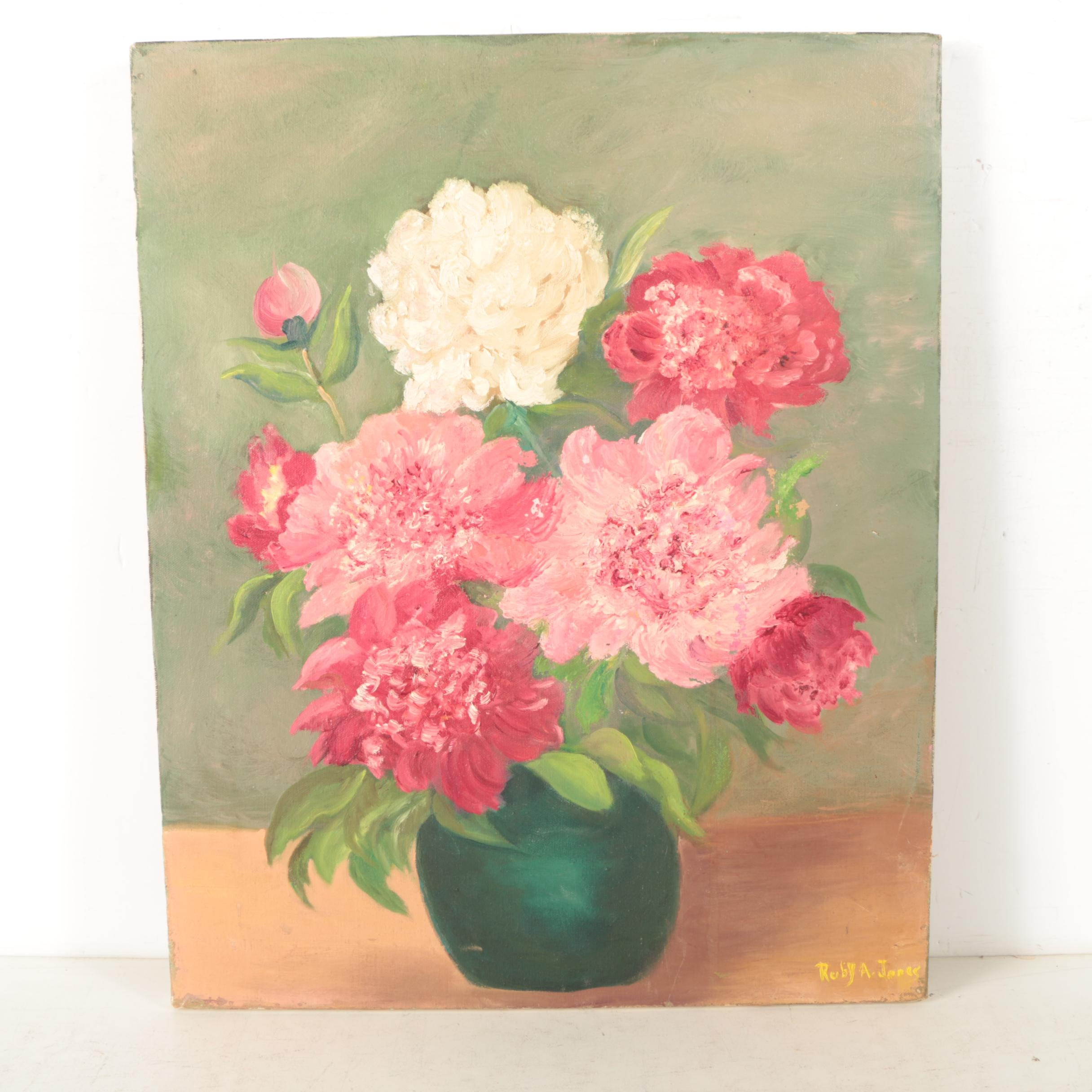 Ruby A. Jones Oil Painting on Canvas of Still Life with Pink and White Peonies