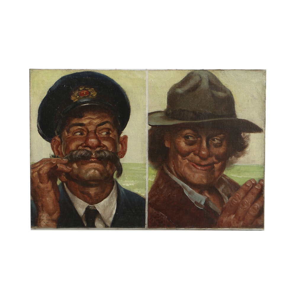 Attributed to Harold Von Schmidt Oil Painting on Canvas Double Portrait