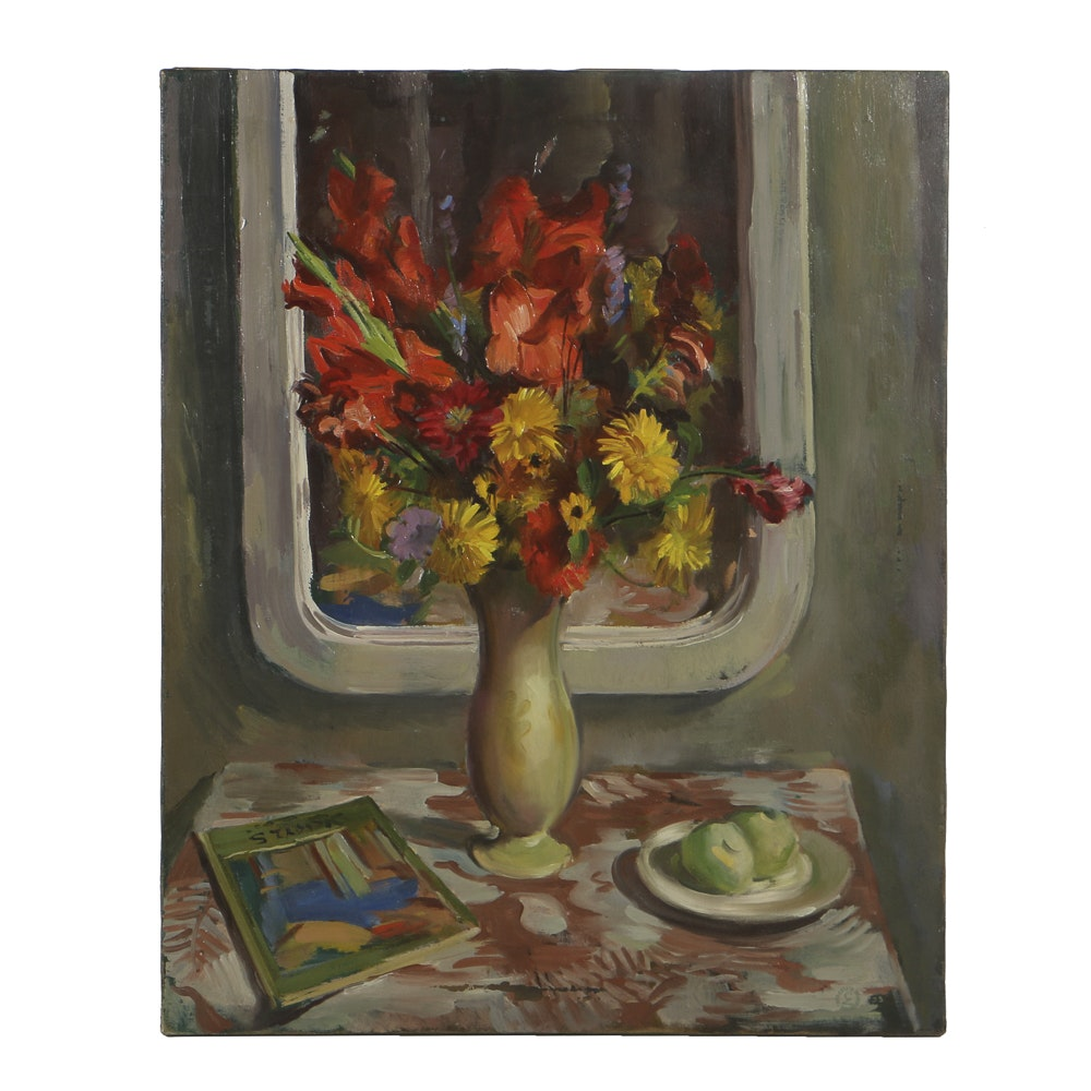 Carl Zimmerman Oil Painting on Canvas Floral Still Life