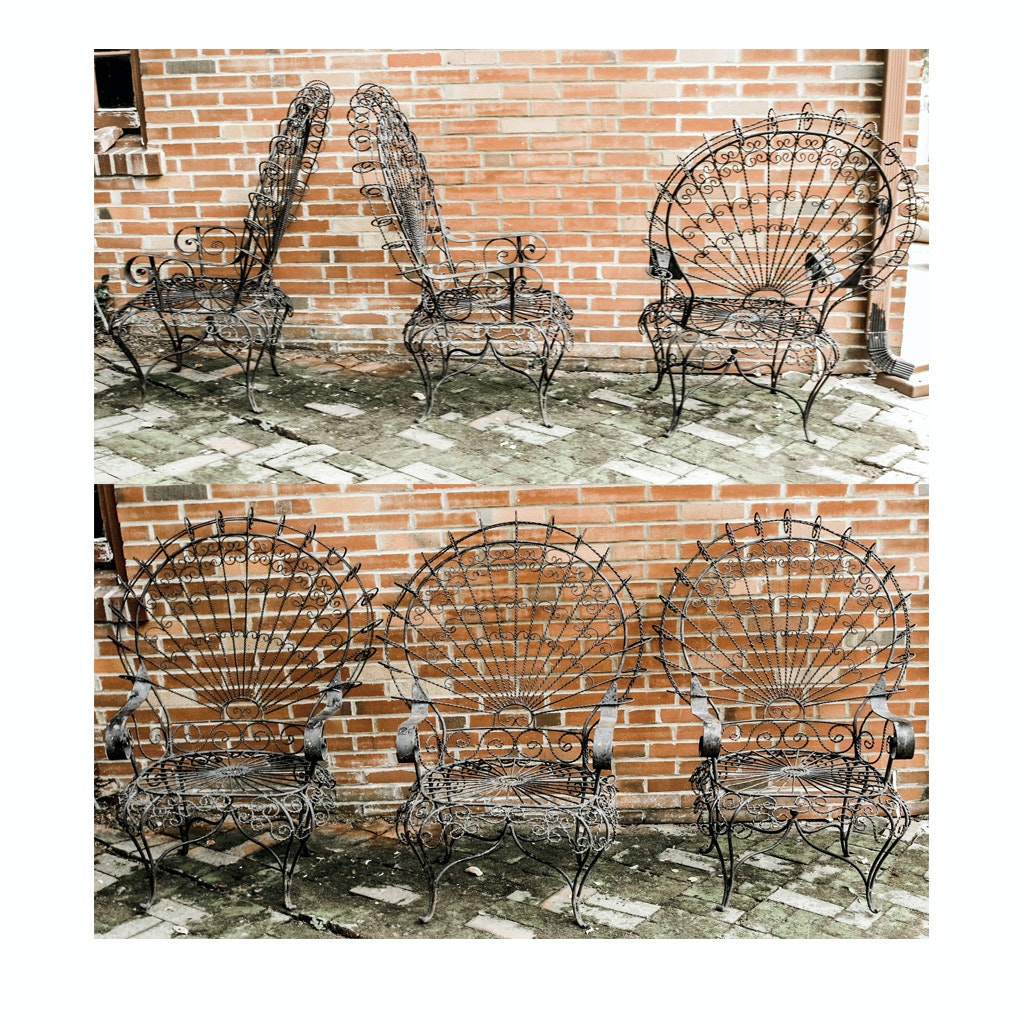 Six Victorian Style Wrought Iron Peacock Patio Chairs