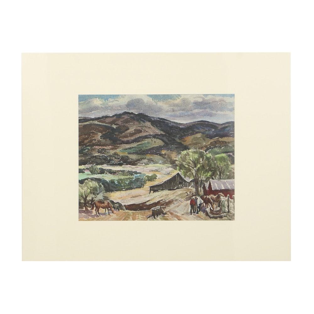 Carl Zimmerman Watercolor Painting on Pulp Paper Farm Landscape