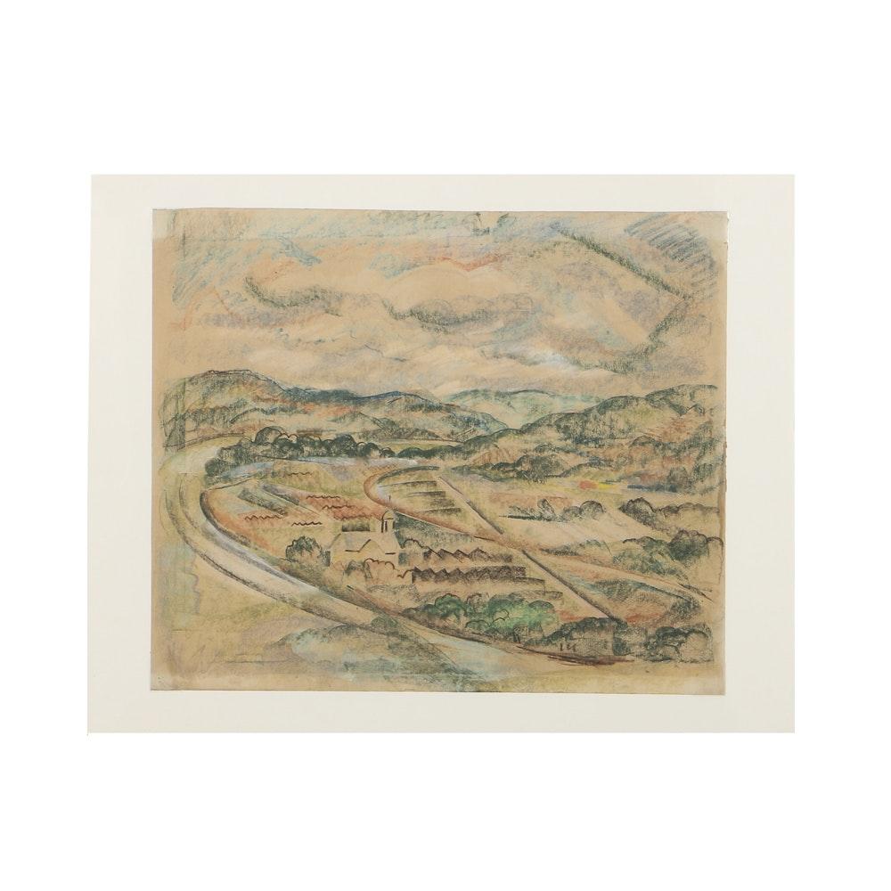 Arthur Helwig Chalk Pastel on Paper Rural Town Landscape