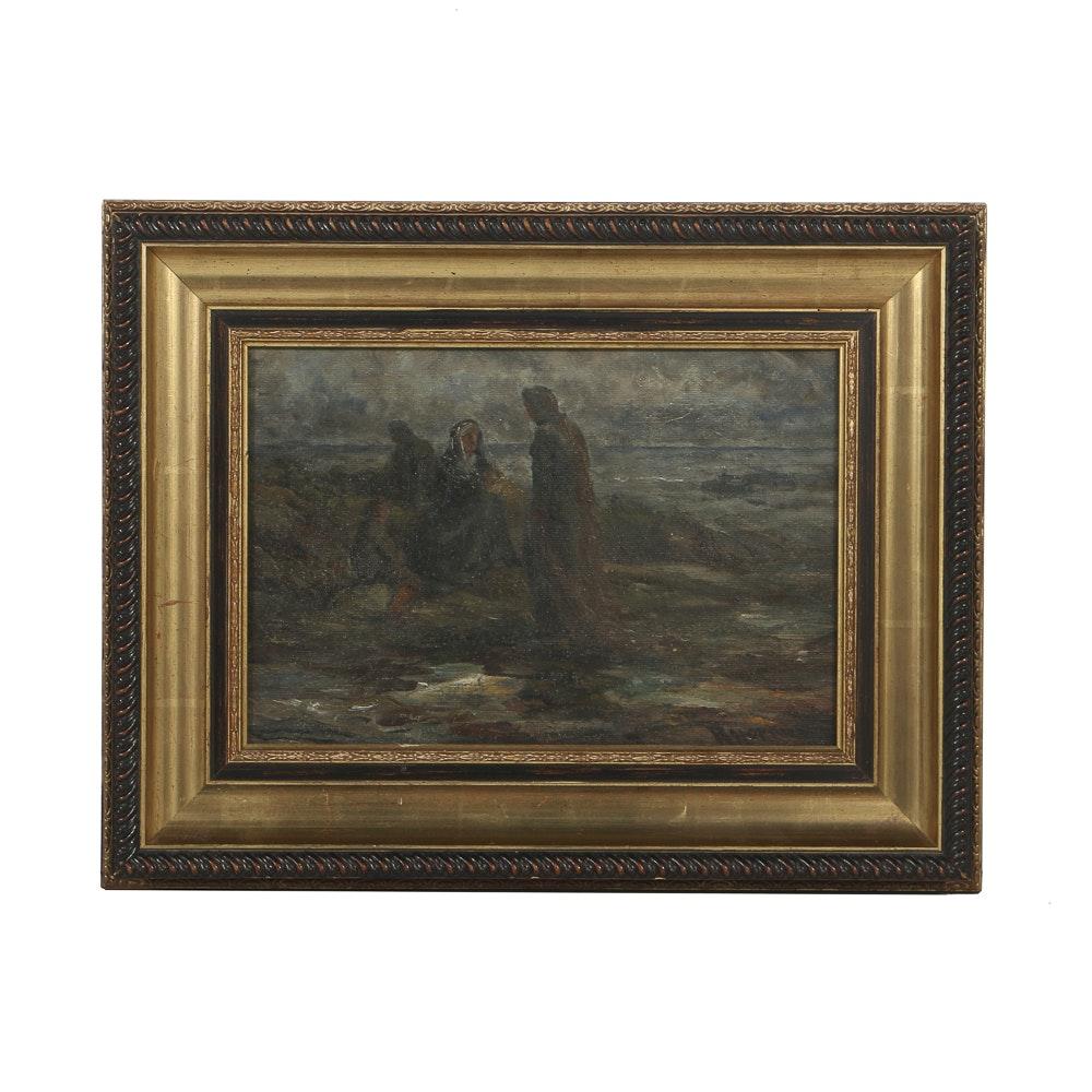 Robert Hopkin Oil Painting on Canvas Figural Landscape