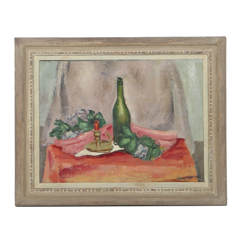 Edgar Yaegar Oil Painting on Canvas Still Life with a Candle