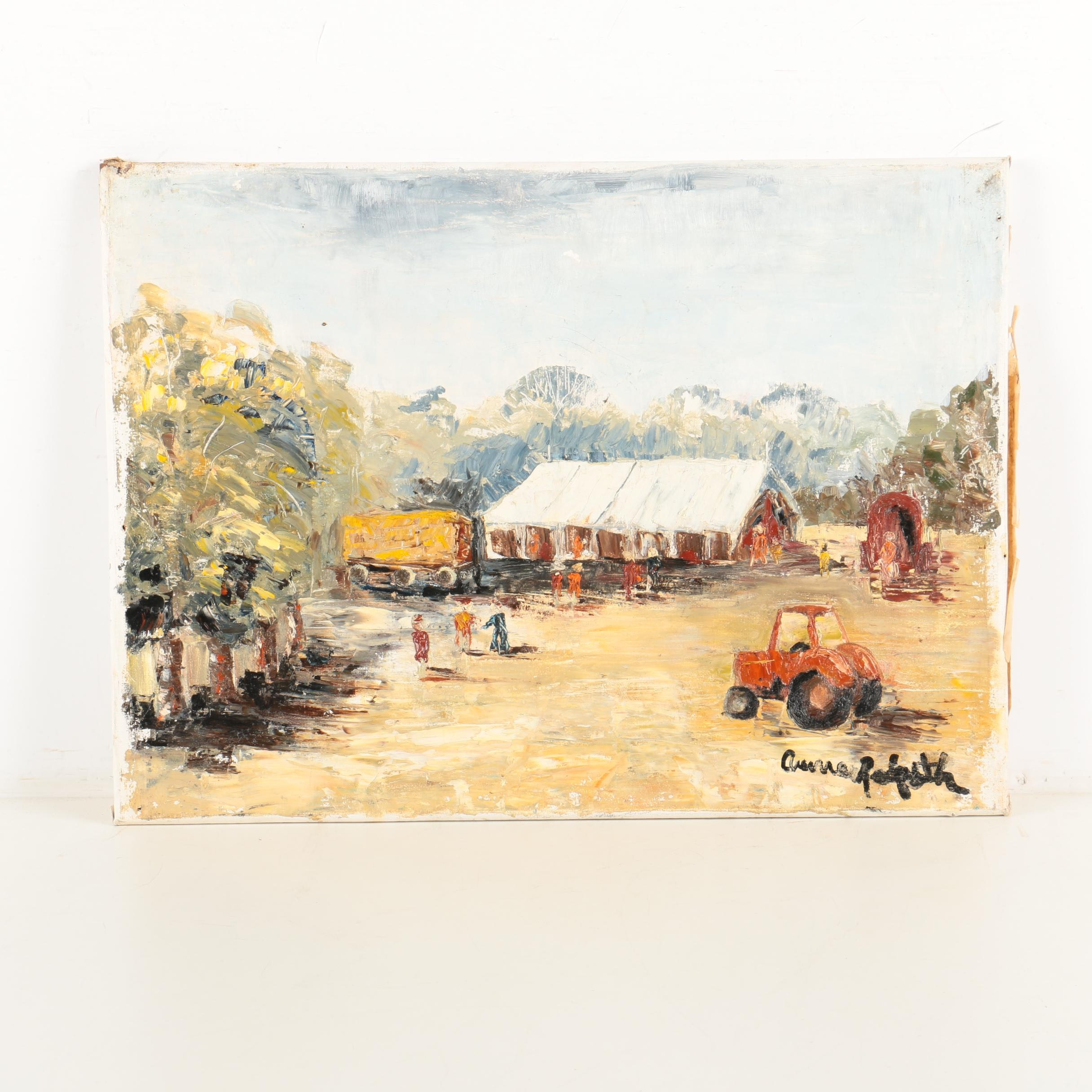 """Anne Redpath Mid Century Oil Painting on Canvas """"A Farm in Spain"""""""