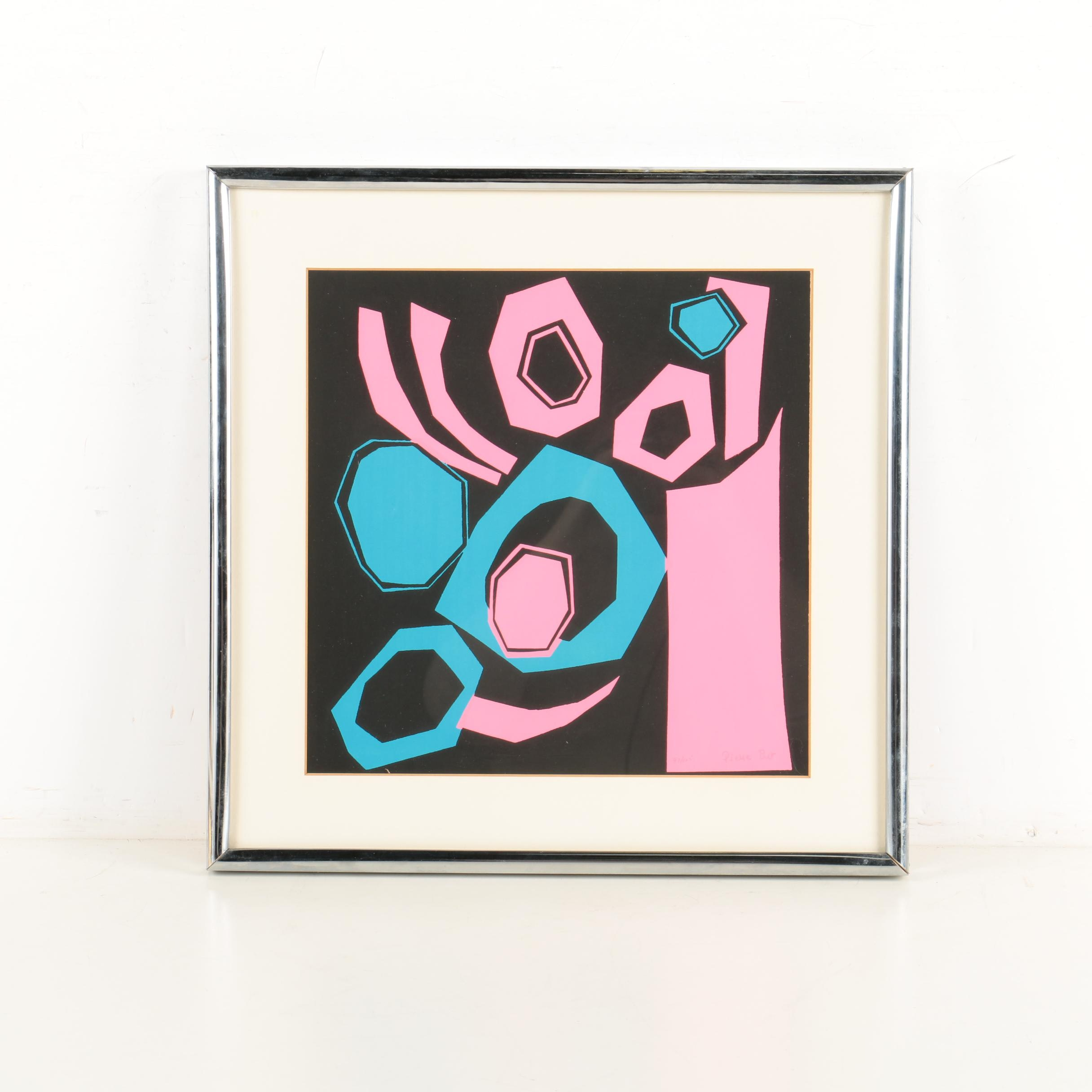 """Pierre Bur Limited Edition Atomic, Abstract Serigraph on Paper """"Jass"""""""