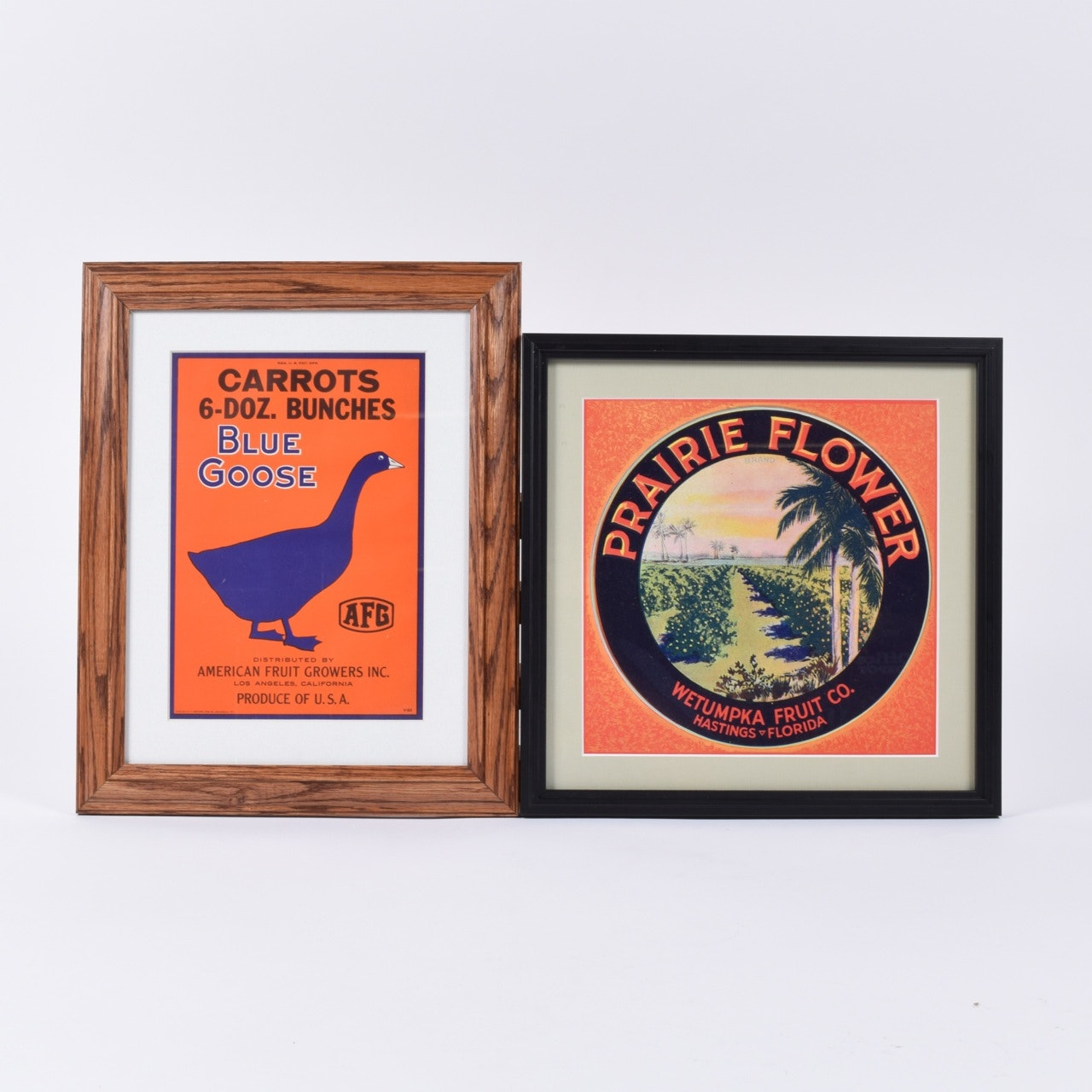 Framed Vintage Fruit Crate Labels