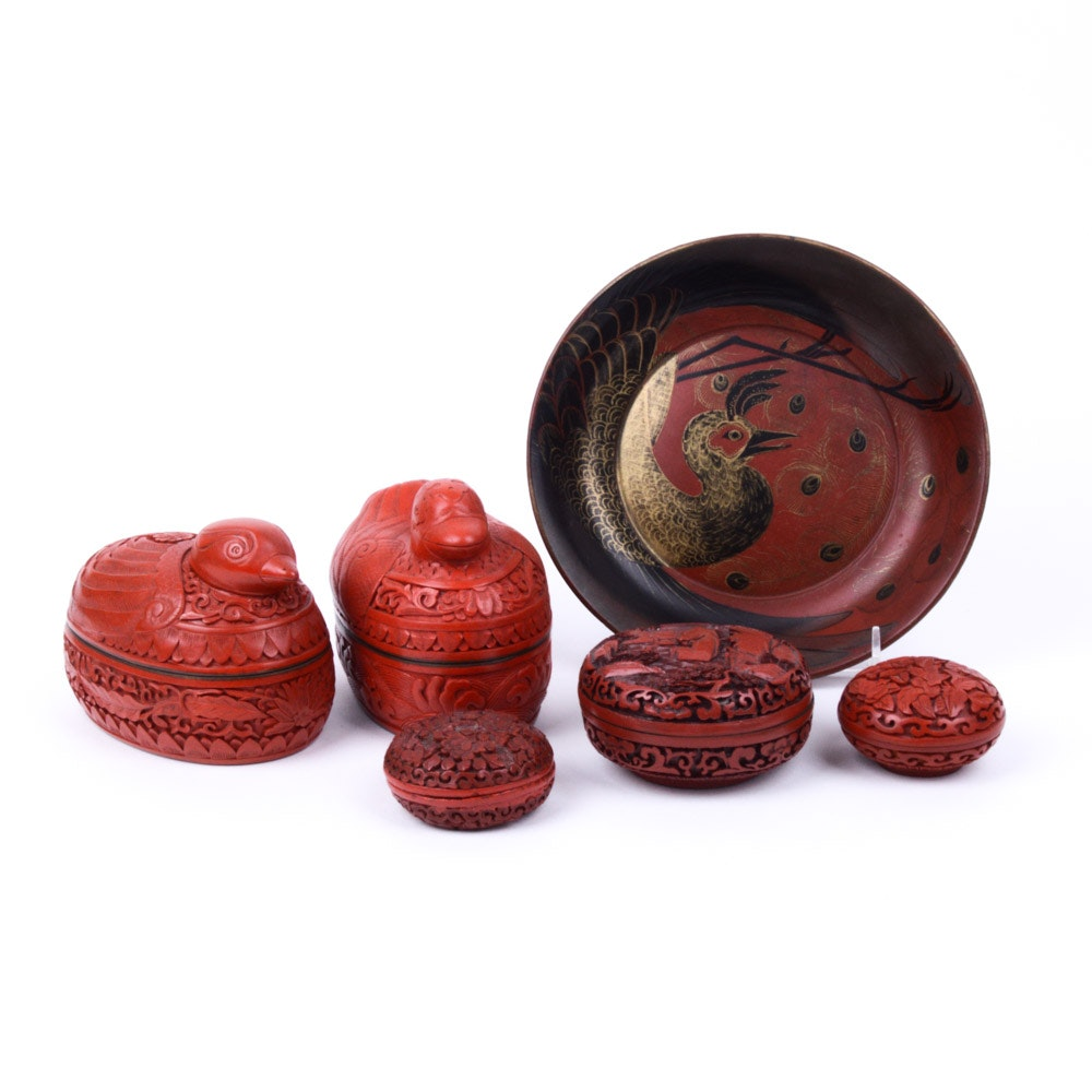 Chinese Cinnabar Boxes and Red Lacquerware Dish