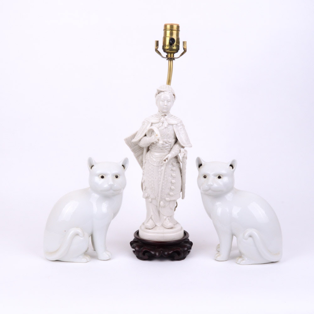 Chinese Warrior Figure Lamp and Pair of White Cat Figures