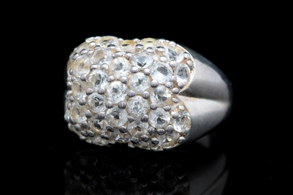 Sterling Silver White Topaz Ring
