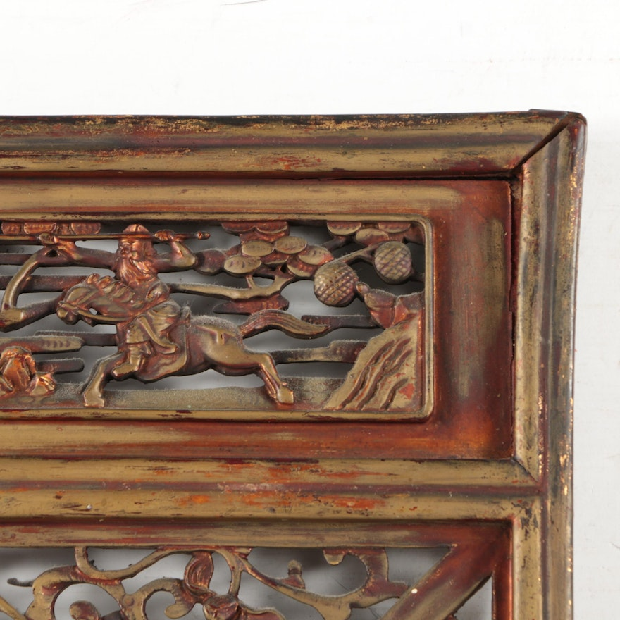 East asian style carved framed mirror ebth for East asian decor