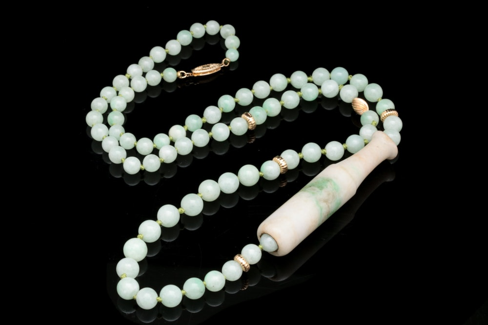 14K Yellow Gold and Nephrite Jade Beaded Necklace