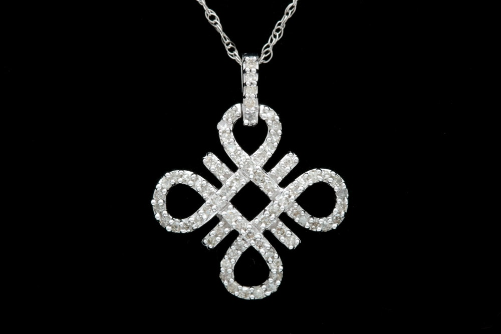 10K White Gold and Diamond Pendant with Chain