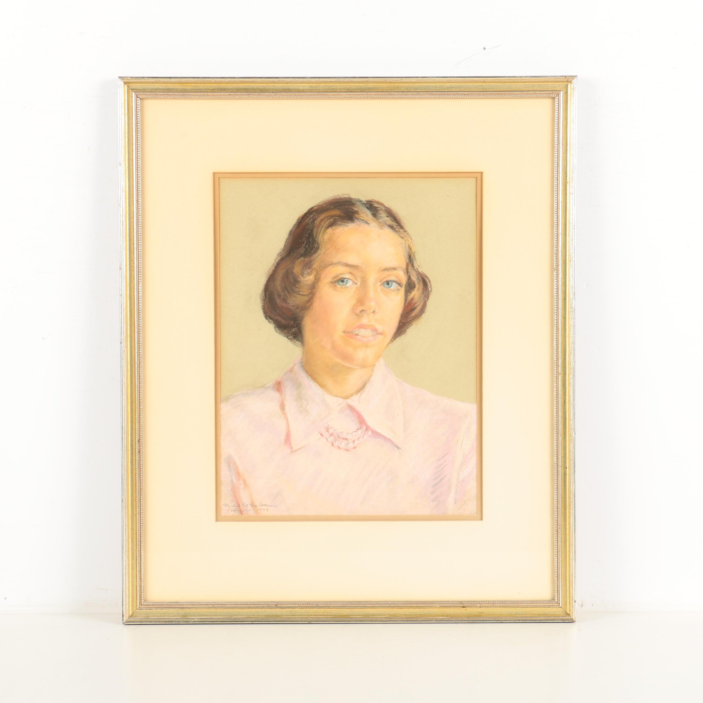 Elizabeth Collweer Pastel Drawing on Paper Portrait of a Woman