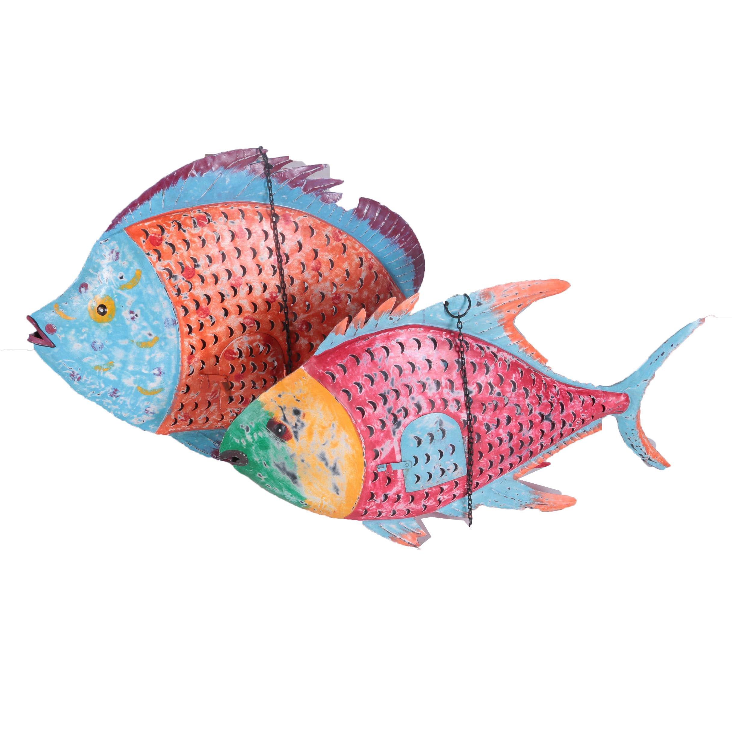 Folk Art Style Metal Fish Candle Lanterns