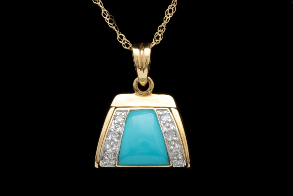 18K Two-Tone Gold, Turquoise and Diamond Pendant with Chain