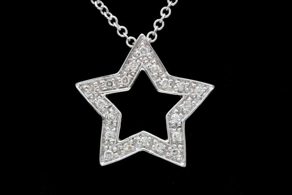 14K White Gold and Diamond Star Pendant with Chain
