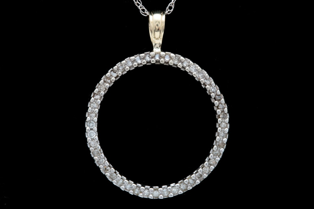 10K Two-Tone Gold and Diamond Open Circle Pendant with Chain