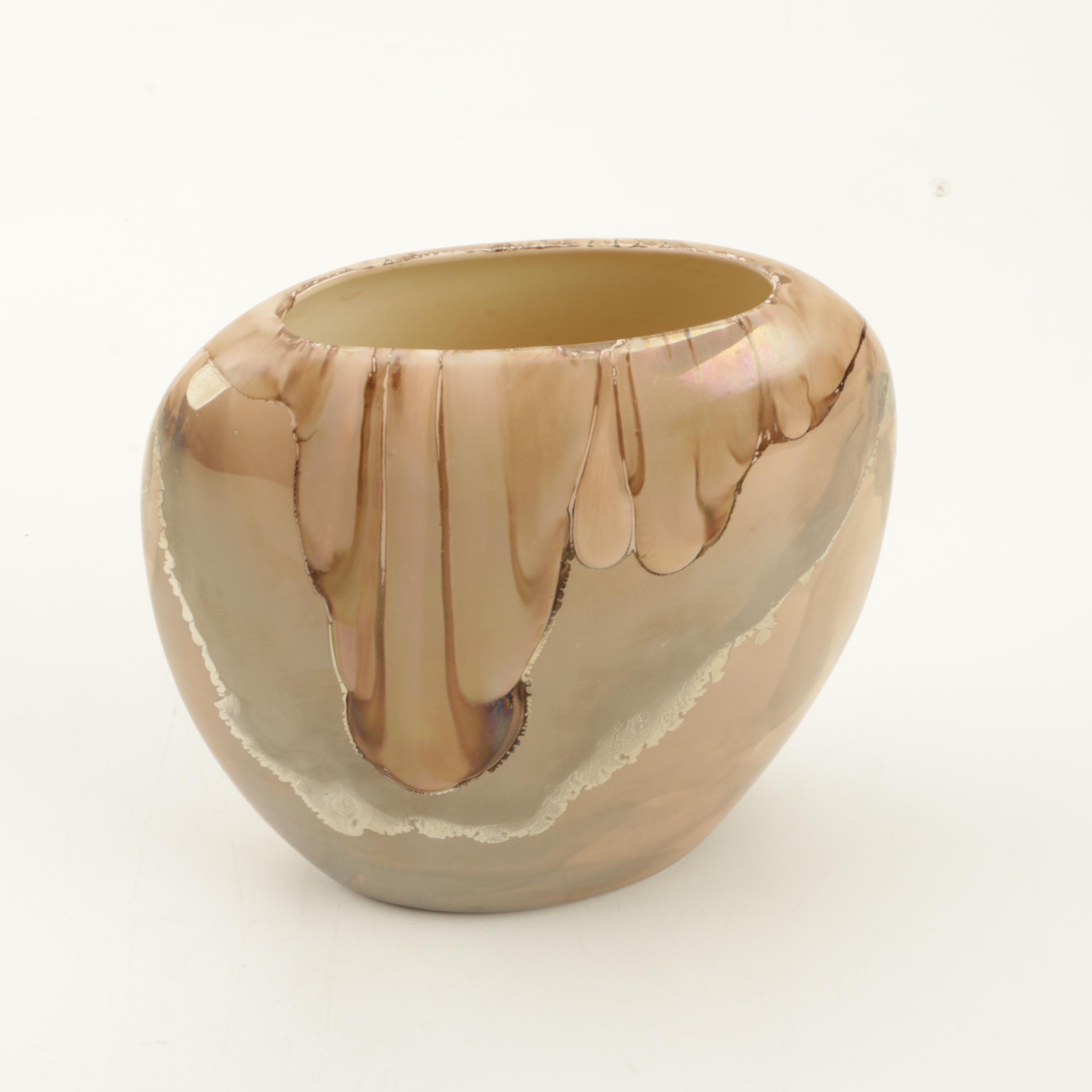 Signed Crystalline Drip Glazed White Stoneware Vase