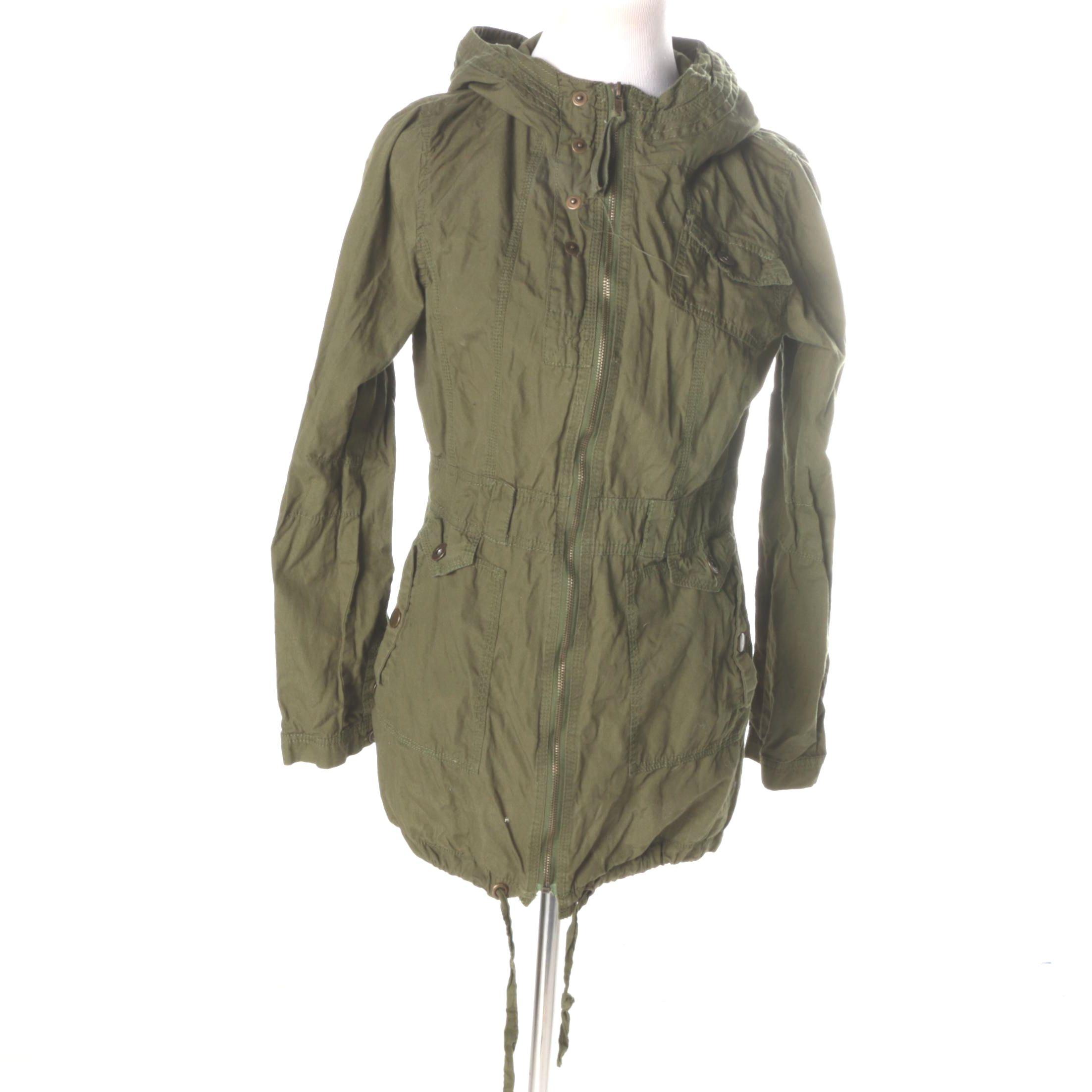 Green Women's Hooded Zip Up Jacket