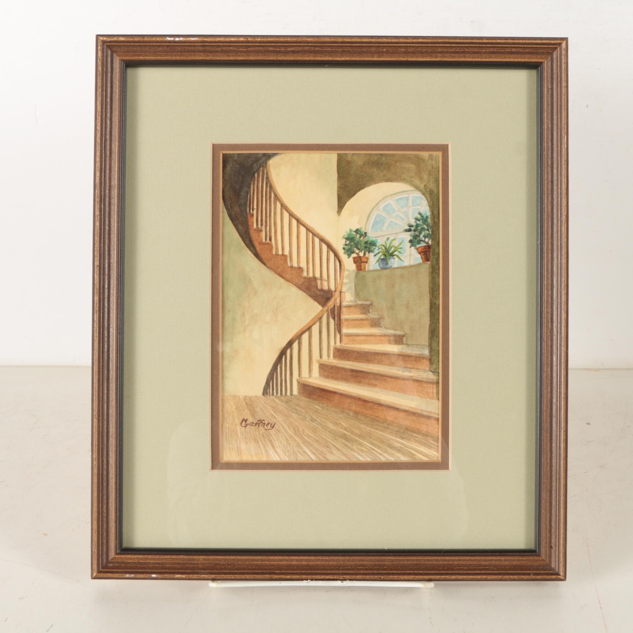"Louise Gaffney Watercolor on Paper ""Back Stairway in the Pontalba Buildings"""