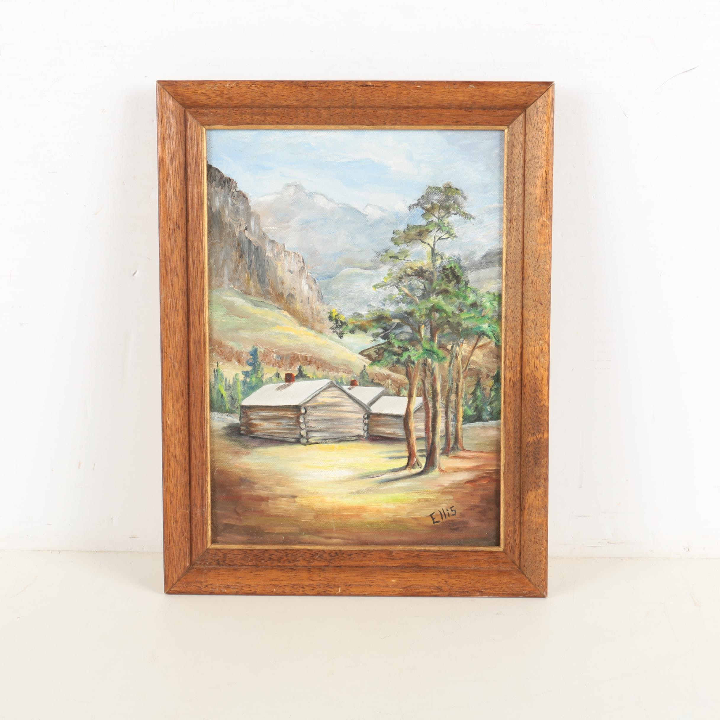 Ellis Oil Painting of a Mountain Cabins