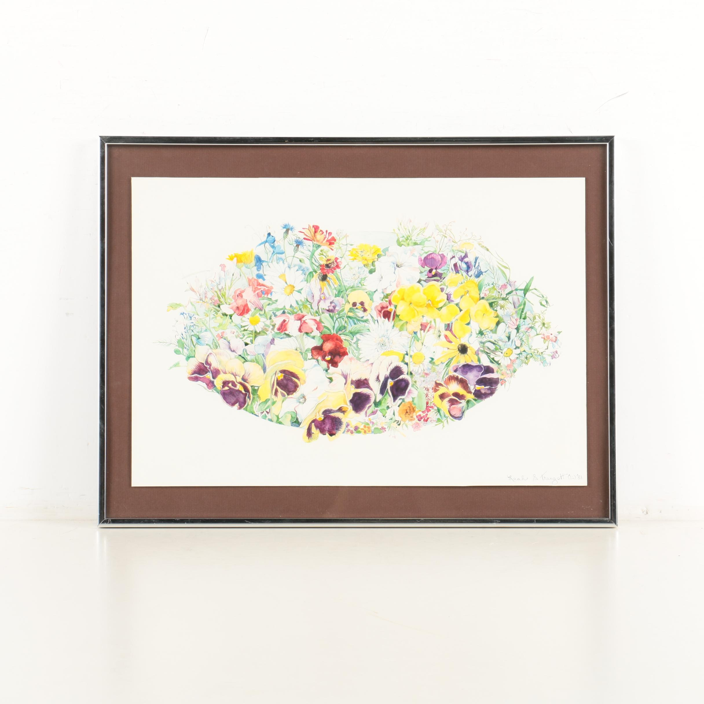 "Leah S. Traugott Watercolor on Paper ""Oval with Yellow Pansies"""