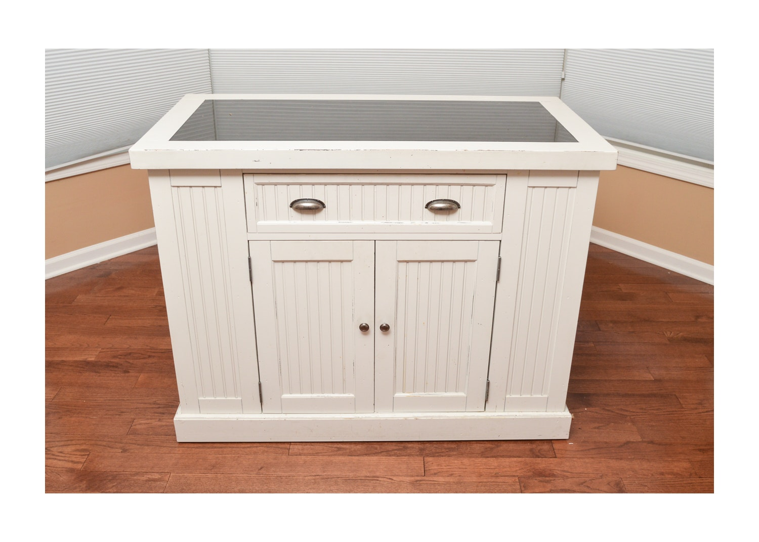 Distress Painted Drop-Leaf Kitchen Island Table