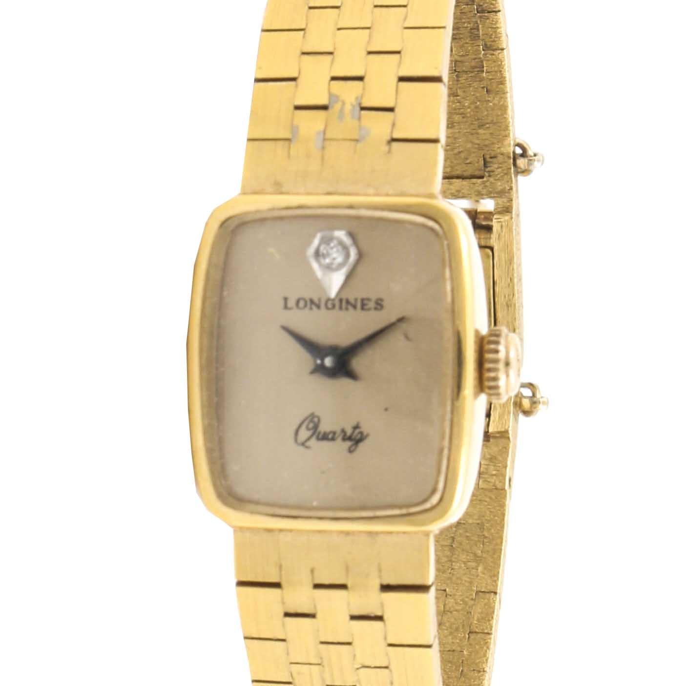 Longines Gold Tone Wristwatch With Diamond Accent