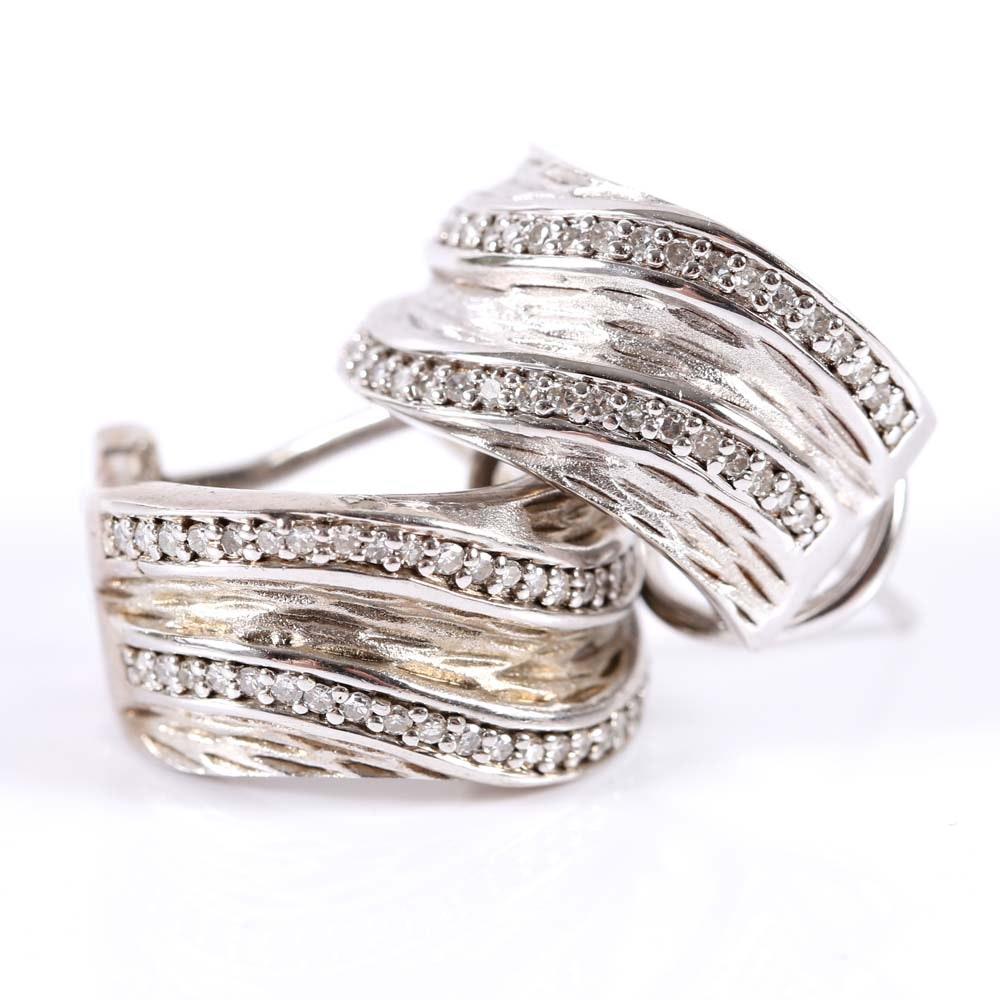 Effy Sterling Silver and Diamond Hoop Earrings