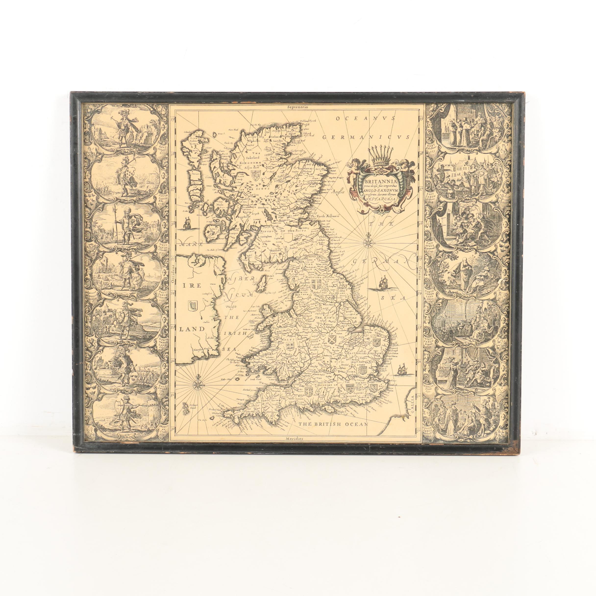 Intaglio Print on Paper of Antique Map of England