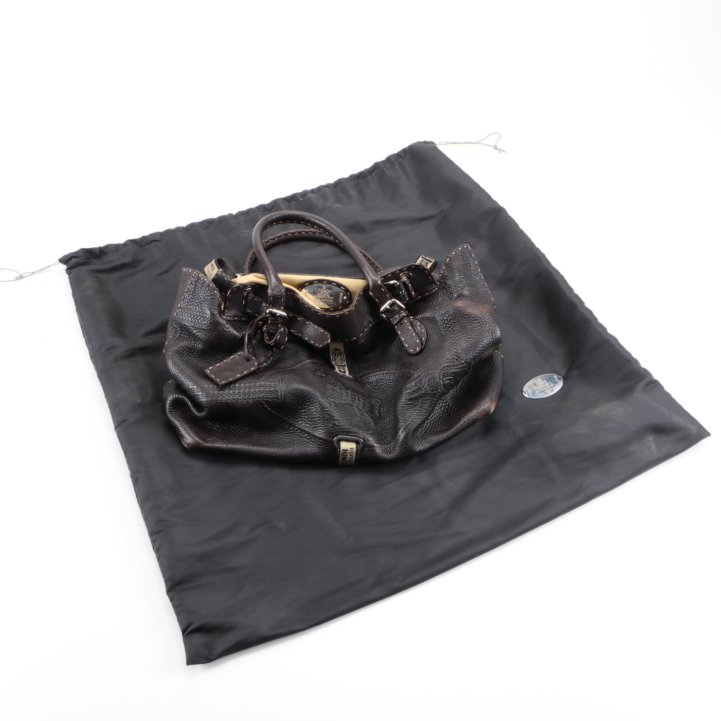 Fendi Selleria Leather Grand Borghese Handbag
