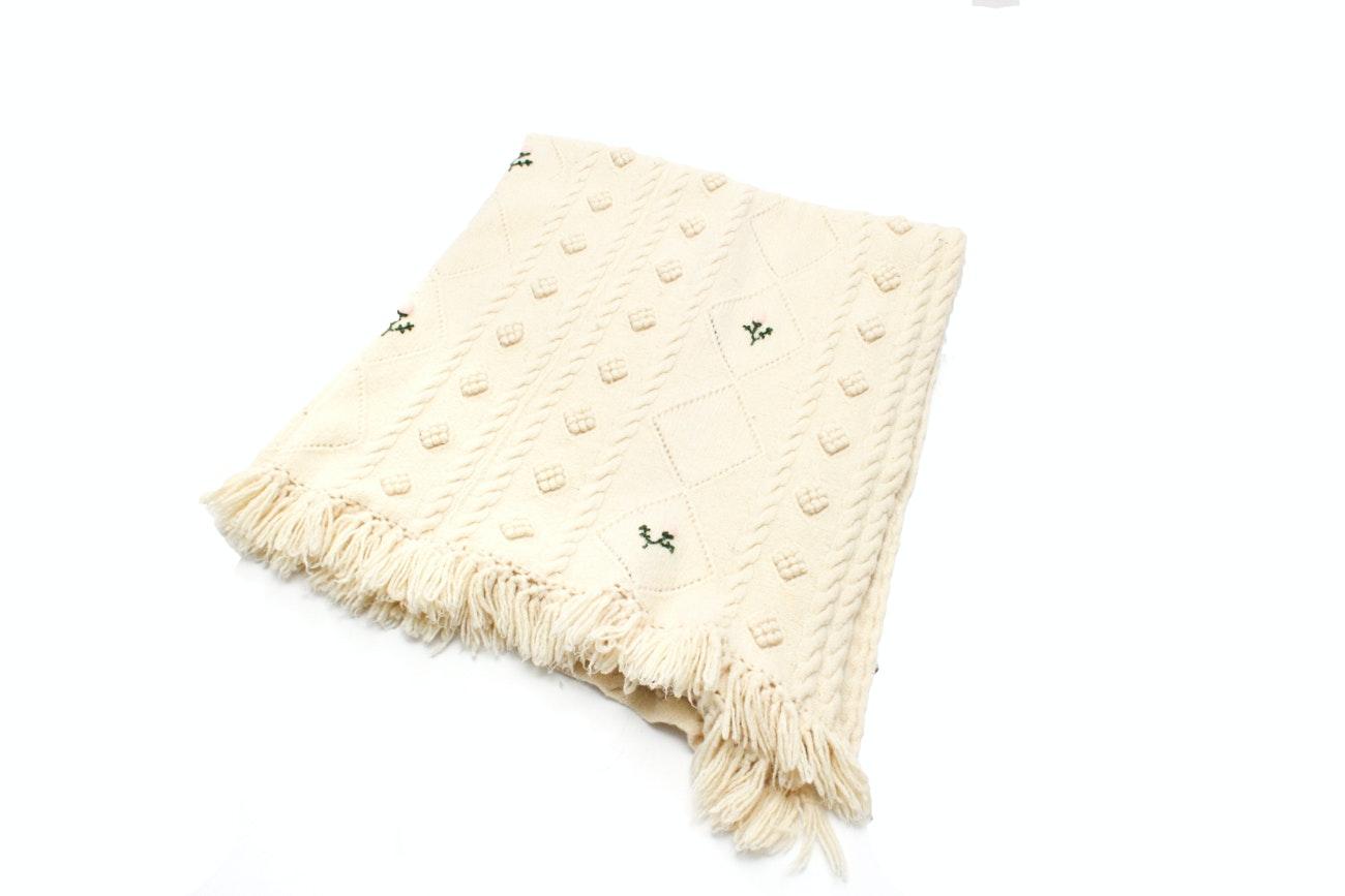 Vintage Cream Wool Blanket
