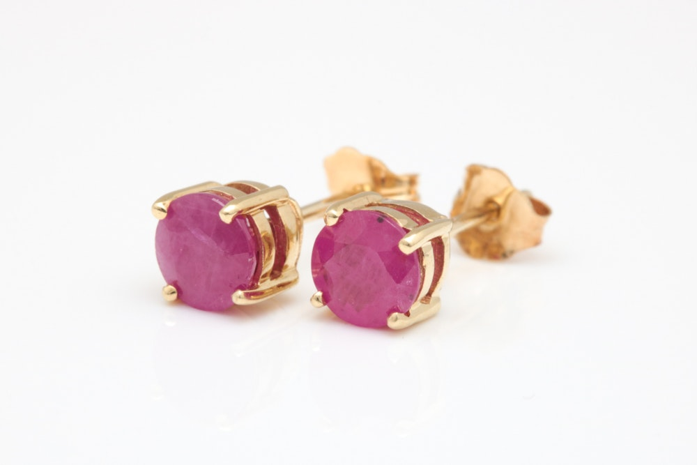 14K Yellow Gold and 1.30 CTW Ruby Stud Earrings